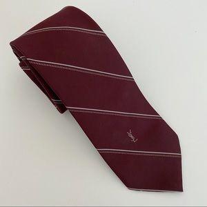 Yves Saint Laurent Burgundy YSL Logo Silk Tie